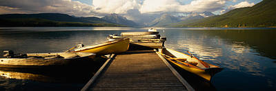 Boats Moored At A Dock, Mcdonald Lake Print by Panoramic Images