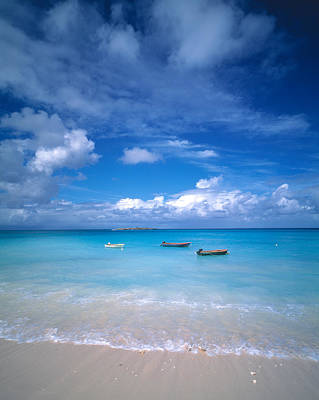 Boats Tropical Caribbean Sea Antilles Print by Panoramic Images
