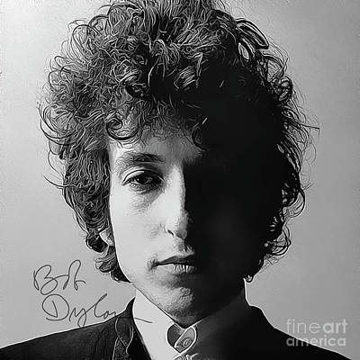 Bob Dylan Art With Autograph Print by Kjc