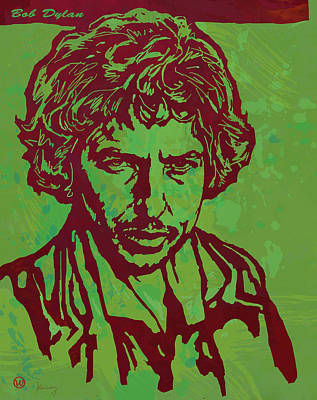Bob Dylan Pop Art Poser Print by Kim Wang