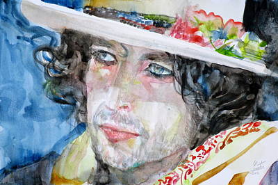 Bob Dylan - Watercolor Portrait.16 Original by Fabrizio Cassetta