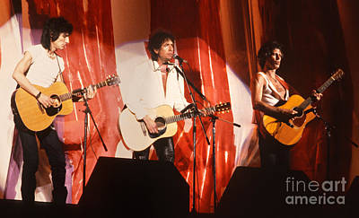 Rolling Stones Photograph - Bob Dylan With Keith Richards And Ronnie Wood - Live Aid by Chuck Spang