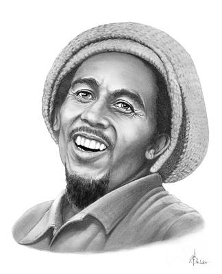 Famous People Drawing - Bob Marley - Murphy Elliott by Murphy Elliott