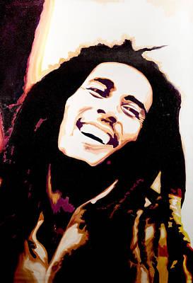 Rasta Painting - Bob Marley - Orange by Jocelyn Passeron