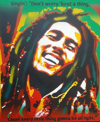 Bob Marley Abstract Painting - Bob Marley, Dont Worry by Leon Keay