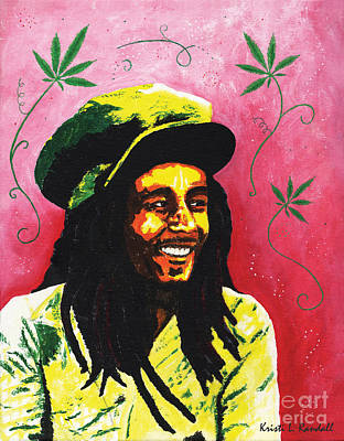 Bob Marley Abstract Painting - Bob Marley by Kristi L Randall