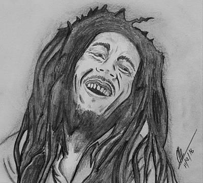 Bob Marley Pencil  Art 2 Print by Collin A Clarke