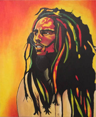Bob Marley Abstract Painting - Bob Marley Portrait by David Galarza