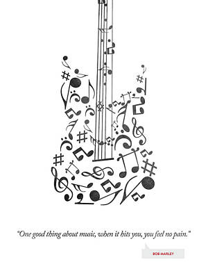 Bob Marley Quote - One Good Thing About Music... Print by Aged Pixel