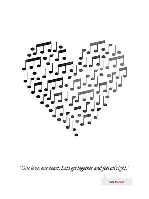 Bob Marley Quote - One Love, One Heart ... Print by Aged Pixel