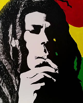 Bob Marley Abstract Painting - Bob Marley Silhouette by Joseph Dollison