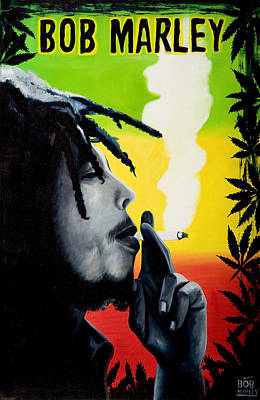Rasta Painting - Bob Marley Smoking by Jocelyn Passeron