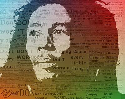 Worries Mixed Media - Bob Marley Three Little Birds by Dan Sproul