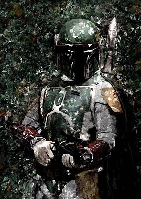 Boba Fett Painting - Boba Fett Portrait Art Painting Signed Prints Available At Laartwork.com Coupon Code Kodak by Leon Jimenez