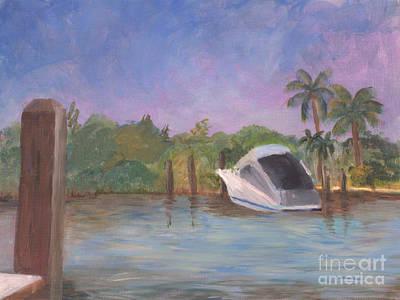 Plein Air Painting - Boca Highlands Marina by Donna Walsh