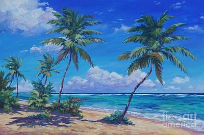 Town Painting - Bodden Town Palms by John Clark
