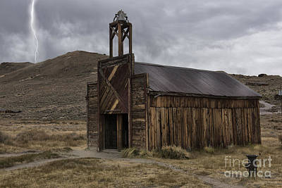 Bodie Fire Station With Lightning Print by Sandra Bronstein