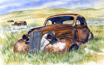 Ghost Town Painting - Bodie Hot Rod by Mark Jennings