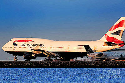 Boeing 747-436 British Airways Baw At Sfo Ready For Take-off Print by Wernher Krutein