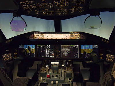 Airliners Photograph - Boeing 787 Dreamliner Cockpit by Daniel Hagerman