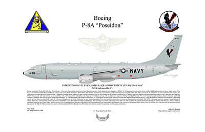 Poseidon Digital Art - Boeing P-8a Poseidon by Arthur Eggers