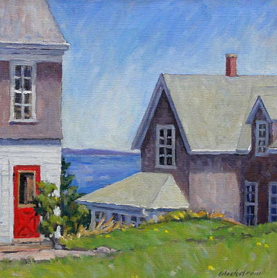 Maine Landscapes Painting - Bogdanov House Monhegan by Thor Wickstrom
