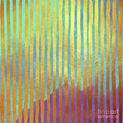 Striped Painting - Bohemian Gold Stripes Abstract by Tina Lavoie