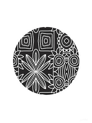 Simple Mixed Media - Boho Black And White Ball 1- Art By Linda Woods by Linda Woods