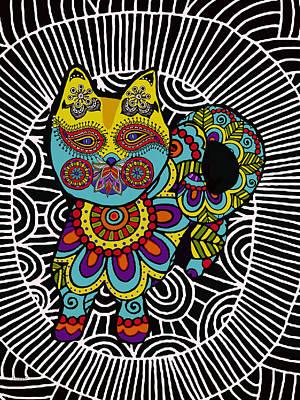 Jewels Drawing - Boho Cat by Patti Siehien