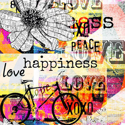 Teen Licensing Mixed Media - Boho Daisy Love Collage by WALL ART and HOME DECOR
