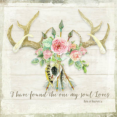 Barn Wood Painting - Boho Love - Deer Antlers Floral Inspirational by Audrey Jeanne Roberts