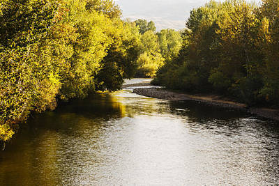 Boise River On A Fine Autumn Morning Print by Vishwanath Bhat
