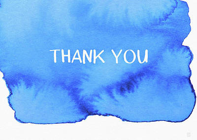 Bold Blue And White Watercolor Thank You- Art By Linda Woods Print by Linda Woods