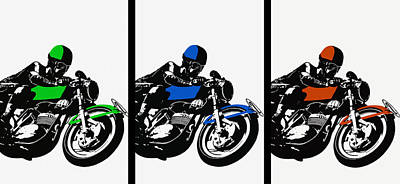 Bold European 60's Motorcycle Racing Poster Print by Big 88 Artworks