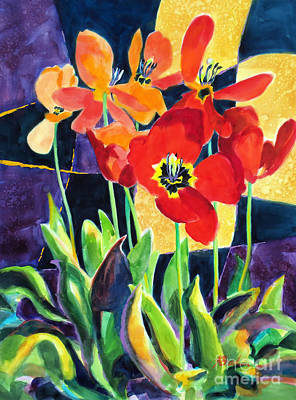 Bed Quilts Painting - Bold Quilted Tulips by Kathy Braud