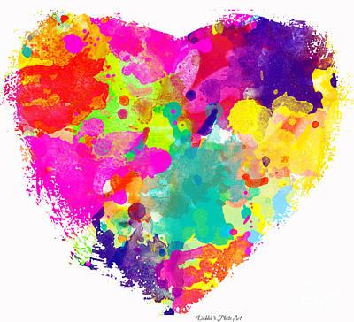 Bold Watercolor Heart - Digital Art Print by Debbie Portwood