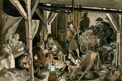 London Tube Drawing - Bomb Shelter During The Blitz by Peter Jackson