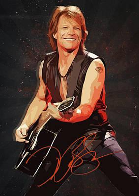 Led Zeppelin Digital Art - Bon Jovi by Semih Yurdabak