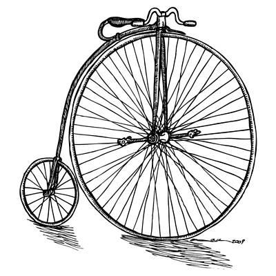 Wheel Drawing - Boneshaker Bicycle by Karl Addison