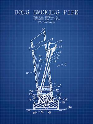 Bong Digital Art - Bong Smoking Pipe Patent1980 - Blueprint by Aged Pixel