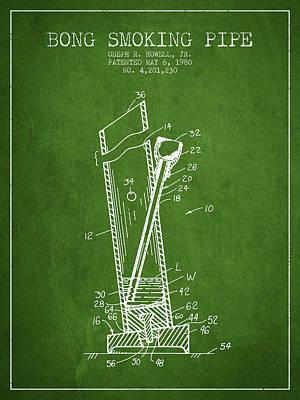 Bong Digital Art - Bong Smoking Pipe Patent1980 - Green by Aged Pixel