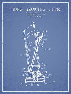 Bong Digital Art - Bong Smoking Pipe Patent1980 - Light Blue by Aged Pixel