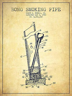 Bong Digital Art - Bong Smoking Pipe Patent1980 - Vintage by Aged Pixel