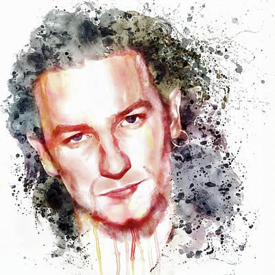 U2 Digital Art - Bono Vox by Marian Voicu
