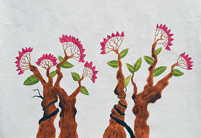 Tree Roots Painting - Bonsai Series Number 6 by Sumit Mehndiratta
