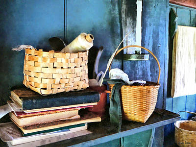 Books And Baskets Print by Susan Savad