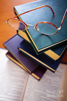 Library Photograph - Books And Spectacles by Carlos Caetano