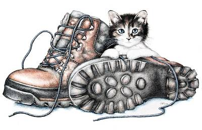 Boots And Kitten Print by Sandra Moore