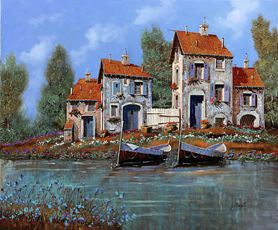 Row Boat Painting - Borgo Viola by Guido Borelli