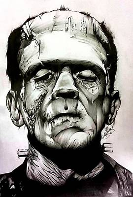 Boris Drawing - Boris Karloff As Frankenstein by Ariana Bannister